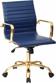 work smart mid back faux leather office chair with built-in lumbar