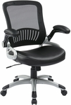 Work Smart Screen Back Eco Leather Seat Managers Chair with 2-to-1 Synchro Tilt and Padded Flip Arms - Black [EM35206-EC3-FS-OS]