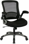 Work Smart Screen Back and Mesh Seat Managers Chair with 2-to-1 Synchro Tilt and Padded Flip Arms - Black [EM35207-3-FS-OS]