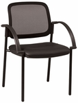Work Smart Screen Back and Padded Faux Leather Seat Visitors Chair with Arms - Black [183905-FS-OS]