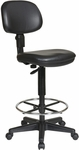 Work Smart Sculptured Seat and Back Drafting Vinyl Chair with Adjustable Height Seat and Footring - Black [DC517V-FS-OS]