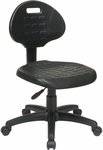 Work Smart Self-Skinned Urethane Armless Task Chair with Seat Back Height Adjustment - Black [KH520-FS-OS]