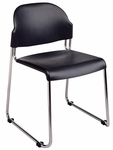 Work Smart Stack Chair with Plastic Seat and Back - Set of 2 - Black [STC3230-3-OS]