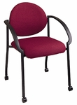 Work Smart Black Frame Padded Stack Chair with Casters and Arms [STC3440-OS]