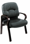 Work Smart Visitors Top Grain Leather Chair with Wood Arms and Lumbar Support - Mahogany [WD5335-EC3-FS-OS]