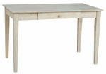 Solid Parawood 26''W X 30''H Home Office Writing Desk with Drawer - Unfinished [OF-41-FS-WHT]