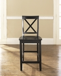 X-Back Bar Stool in Black Finish with 24'' Seat Height - Set of 2 [CF500424-BK-FS-CRO]
