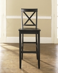 X-Back Bar Stool in Black Finish with 30'' Seat Height - Set of 2 [CF500430-BK-FS-CRO]