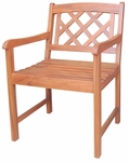 Outdoor Oil Treated Asian Hardwood X-Back Chair with Arms - Oak Finish [C-53917-FS-WHT]