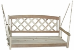 Outdoor Solid Wood 45.6''W X 21''H X-Back Swing with Chains - Unfinished [SW-54212-FS-WHT]