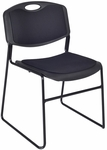 Zeng 31''H Armless Stackable Metal Frame Padded Chair - Black [4450BK-REG]