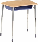 ZUMA Adjustable Height Student Desk with Bowfront Hard Plastic Top and Plastic Book Box - 31.63''W x 22.75''D x 22''H - 32''H [ZADJ2031BOXM-VCO]