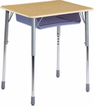 ZUMA Adjustable Height Student Desk with Hard Plastic Top and Plastic Book Box - 26.13''W x 18.38''D x 22''H - 32''H [ZADJ2026BOXM-VCO]
