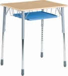ZUMA Adjustable Height Hard Plastic Top Student Desk with Wire Book Basket and Pencil Tray - 26.13''W x 18.38''D x 22''H - 32''H [ZADJ2026BRTM-VCO]