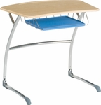 ZUMA Cantilever Student Desk with Bowfront Hard Plastic Top, Wire Book Basket, and Pencil Tray - 31.63''W x 24.5''D x 29''H [ZDESK29BRTM-VCO]