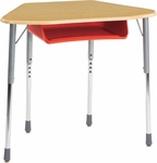 ZUMA Student Desk with Hard Plastic Trapezoid Top For Hexagonal Groupings and Plastic Book Box - 32.13''W x 20.37''D x 22''H - 32''H [ZHEXBOXM-VCO]