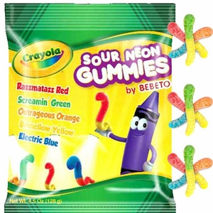 Crayola Sour Neon Gummi Worms 3.5oz