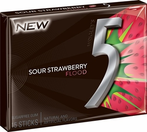 Five (5) Gum Sour Strawberry Flood 10 Count