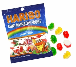 Haribo Gummi Mini Rainbow Frogs 5oz Bag