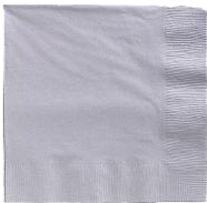 SIlver Beverage Napkins 3 Ply - 50 Count