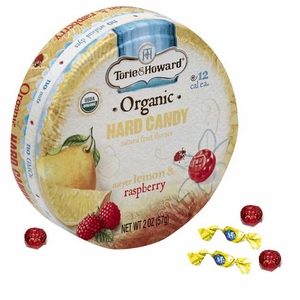 Torie & Howard Organic Lemon & Raspberry 2oz Tin 8 Count