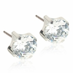 Hypoallergenic Silver Titanium 5mm Prong Set CZ Earrings