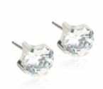 Hypoallergenic Silver Titanium 7mm Prong Set CZ Earrings