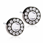 Black Titanium Brilliance Halo Crystal Earrings