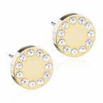Golden Titanium Brilliance Puck Crystal Earrings