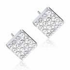 Silver Titanium 8mm Brilliance Square Crystal Earrings