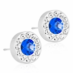 Silver Titanium Brilliance Halo Crystal/ Sapphire Earrings