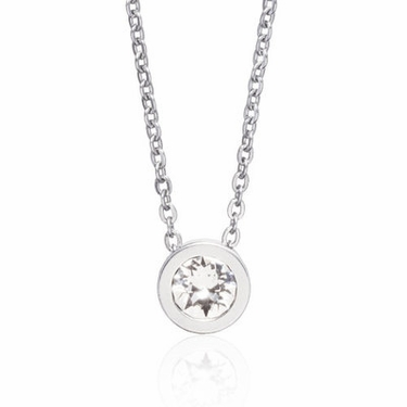 Silver Grand Bezel Crystal Necklace