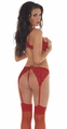1/ 2 Cup Bra, G-String, Suspenderbelt and Stocking Lingerie Set