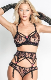 Arcade Fire - Set of Bra, Panties and Garter Belt with Fuchsia Polka Dot Lace