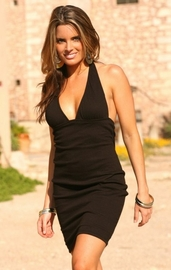 Black Gauze Halter Dress