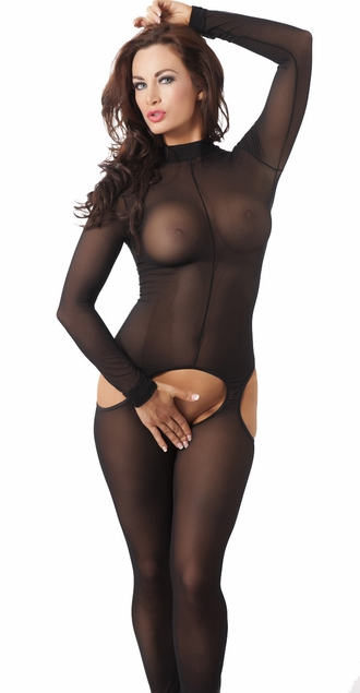 Sheer Black Open Bottom Catsuit