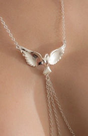 Born Never Asked - Women's Dove Neck Chain with Pendant and Non-Piercing Nipple Rings in Silver