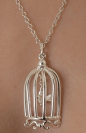 Break It Up - Silver Bird in a Cage Necklace
