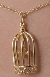 Cold Case Love - Gold Waist Chain with Bird in a Cage Pendant