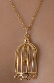 Dancing Barefoot - Gold Bird in a Cage Necklace