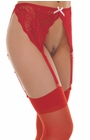 Darted Red Lace Suspender Belt With Stockings - Sexy Lingerie