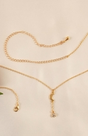 Gold Waist Chain with Moon and Crystal Jewel