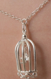 It Tango - Silver Waist Chain with Bird in a Cage Pendant