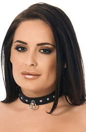 Leather 1 Inch (2 1/2 cm) Collar with Rivets