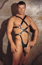 Leather Body Harness G-string with Open Crotch Front