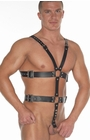 Leather Body Harness with Cock Rings (40 + 50 mm)