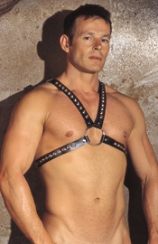 Leather Chest Harness with Studs