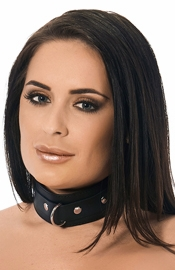 Leather Collar with Studs and Ring