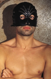 Leather Head Mask with Rivets