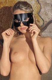Leather Open Mask with Detachable Blinders